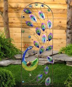 Iron & Glass Peacock Trellis