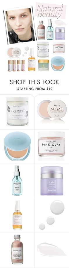 """#minimalistbeauty"" by hellodollface ❤ liked on Polyvore featuring beauty, Herbivore, Fresh, Shiseido, Kate Somerville, Oxalis Apothecary, Topshop, French Girl, Too Faced Cosmetics and minimalistbeauty"