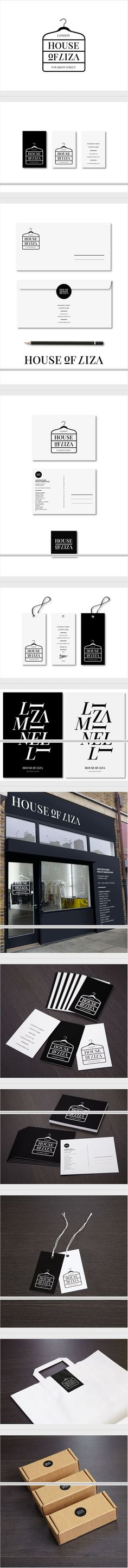 More black and white House of Liza / 2012 identity packaging branding curated by Packaging Diva PD Graphisches Design, Logo Design, Design Poster, Brand Identity Design, Corporate Design, Graphic Design Typography, Branding Design, Corporate Identity, Visual Identity