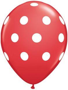 """Red Big Polka Dots 11"""" Latex Balloons 6pk"""