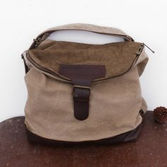 Women Canvas Casual Leather Beige Backpack