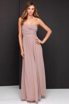 Lovely Taupe Dress - Strapless Dress - Maxi Dress - $68.00