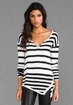 CENTRAL PARK WEST Rhinelander Asymmetric Sweater in Black & Ivory Stripe