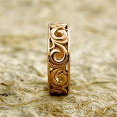 COPPER Wide 14k Rose Gold Flower Patterned Swirly Wedding Band with Big Scrolls and Glossy Finish