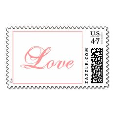 Blush Pink Love Wedding Postage Stamp
