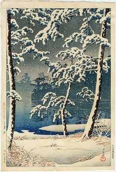 """""""Senzoku Pond"""" by Hasui, Kawase"""