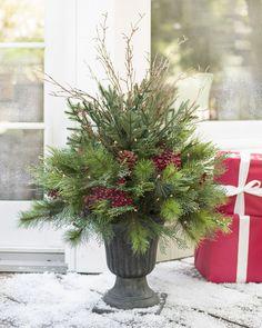 Outdoor Christmas Planters, Christmas Urns, Potted Christmas Trees, Christmas Garden, Outdoor Christmas Decorations, Christmas Centerpieces, Christmas Lights, Christmas Wreaths, Holiday Decor