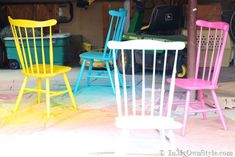 Step-by-step photo tutorial showing my process to spray painting wood chairs and the brands of spray paint and primer I like to use | In My Own Style