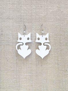 Cute cat earrings  lacer cut plexiglass by muchoshop on Etsy, $12.00
