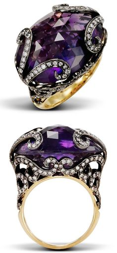 PAPAL PASSION Exquisite detailing of the diamonds atop a domed oval amethyst make this ring worthy of papal passion.