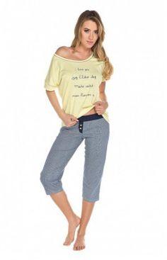 Pyjama Femme Pantalon court Model Rubi Jaune Italian Fashion 60431