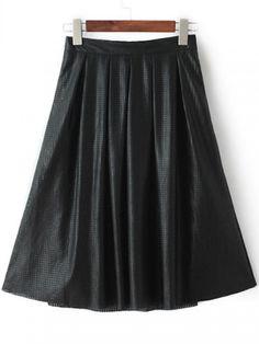 Black Elastic Waist Hollow PU Skirt -SheIn(abaday)