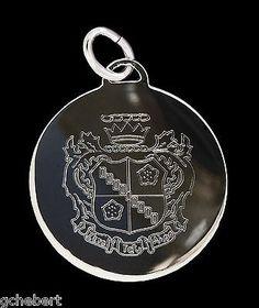 Zeta Tau Alpha Sorority Round Engraved Crest Silver Charm Pendant ΖΤΑ