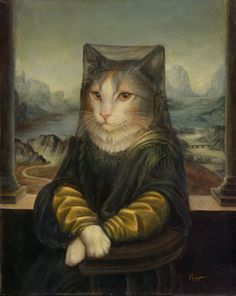 e621 anthro anthrofied cat clothed clothing detailed detailed_background feline female furrification inspired_by_proper_art looking_at_viewer mammal melinda_copper mona_lisa pose signature smile solo whiskers