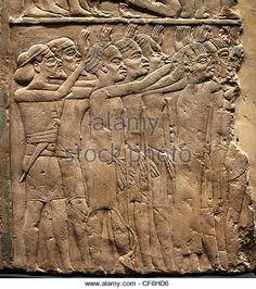 Foreign princes paying tribute to King Tutankhamen of Egypt 1330 BCE Saqqara tomb of General Horemheb  Egypt Egyptian - Stock Image