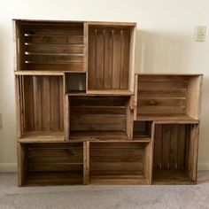 Diy Bookshelf Closet Wooden Crates 20 Super Ideas - sandy, In Apple Crate Shelves, Wooden Crate Shelves, Crate Bookshelf, Apple Crates, Wooden Crates, Wooden Diy, Bookshelf Closet, Bookshelf Ideas, Crate Shelving