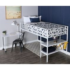 Walker Edison Premium Metal Twin Low Loft Bed with Desk and Shelving, White Dream Bedroom, Kids Bedroom, Bedroom Decor, Map Bedroom, Kids Rooms, Low Loft Beds, Bedding Inspiration, Room Inspiration, Small Rooms