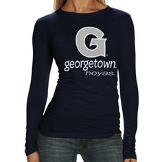 Georgetown Hoyas Ladies Superstore Slim Fit Long Sleeve T-Shirt - Navy Blue In Stock Price: $26.95  http://shop.guhoyas.com/source/bmbh_GUsocial