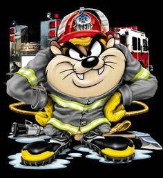 Mischievous Little Devil ツ Taz Firefighter Drawing, Firefighter Paramedic, Firefighter Gifts, Volunteer Firefighter, Firefighter Decals, Tasmanian Devil Cartoon, Firefighter Pictures, Fire Tattoo, Fire Department