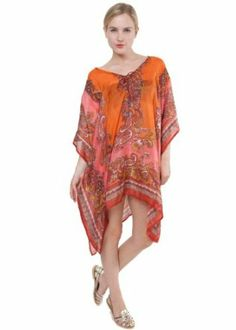 orange beaded silk kaftan styling