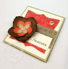 LOVE! Fabulous color combination (soft suede, calypso coral, river rock)!  Mary Fish at Stampin' Pretty