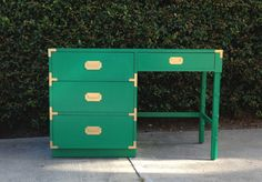 SOLD - Emerald Green and Gold Campaign Desk