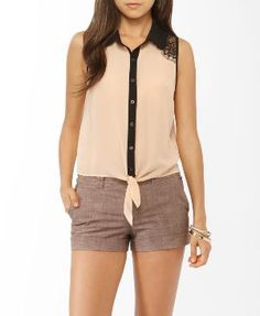 Lace Trim Tie Shirt <3