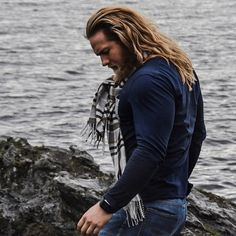 In one moody picture, Lasse walks on the rocks by the sea with his long blond hair flowing. Norwegian Men, Hair And Beard Styles, Long Hair Styles, Et Tattoo, Viking Men, Long Blond, Hair Flow, Great Beards, Oldschool