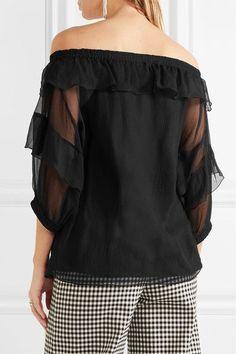 Sonia Rykiel - Off-the-shoulder Ruffled Silk-georgette Blouse - Black - FR44