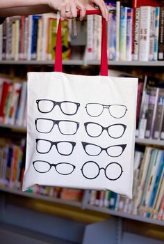 Perfect Vision Glasses Tote Bag   Red handle by seekerofhappiness