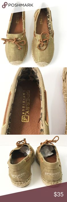 Sperry katamaespadrille in gold tipped linen Cute espadrilles in gold . Cute cheetah print in inside. Brown leather ties . Shows some wear on bottom but still in amazing shape. One of the shoes  logos is a bit faded inside the sole of the shoe. So the only wear the shoes have cannot be seen by anyone else . Great condition and perfect for this summer and even fall ! Pet free smoke free home . Sperry Top-Sider Shoes Espadrilles