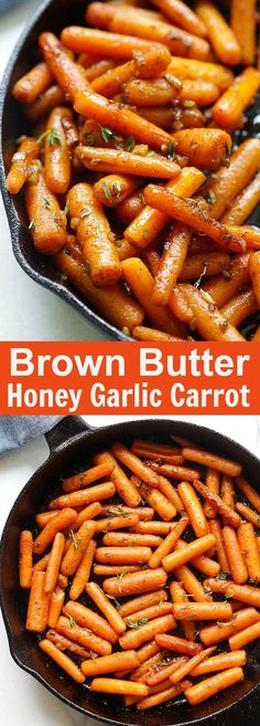 Brown Butter Garlic Honey Roasted Carrots – the best roasted carrots ever with lots of garlic, brown butter and honey. SO good
