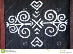 Photo about The ornament from Cicmany, a slovak folk pattern. The village Cicmany with the painted wooden houses is on the list of UNESCO. Image of famous, design, architecture - 57671999 Folk Embroidery, Embroidery Patterns, Ainu, Slavic Tattoo, Symbol Tattoos, Photo Ornaments, Pattern Art, Folk Art, Diy And Crafts