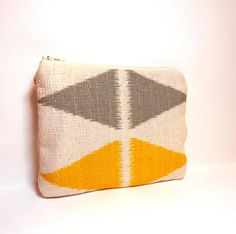 Zipper Pouch Cosmetic Bag Change Purse   - Ikat Pattern with Diamonds in Yellow and Grey