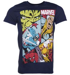 409b2e98b Mens Navy Marvel Heroes Collage T-Shirt This tee will have you feeling  ready for