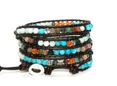 Citrine leather wrap bracelet - Turquoise & Tangerine - Boho chic - semi precious