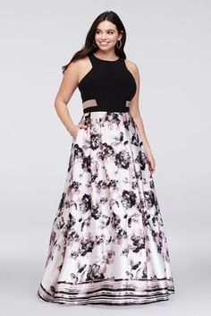 Make a sweet statement in this jersey-bodice A-line plus-size gown, complete with fashion-forward illusion cutouts at the waist and a soft charmeuse skirt printed with watercolor blooms and stripes.   David's Bridal Exclusive Print  By Blondie Nites  Polyester, spandex  Back zipper; fully lined  Spot clean  Imported