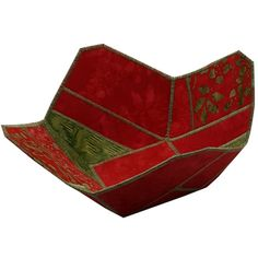 Christmas Reversible Fabric Bowl in Red and Green by Sieberdesigns