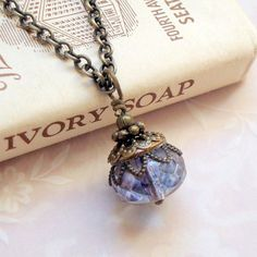 Beaded Bronze Pendant Necklace, Vintage Inspired Jewelry, Neo Victorian Jewelry, Purple Necklace