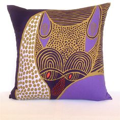 Valentines Fox Cushion. Marimekko Geometric Print. Violet and