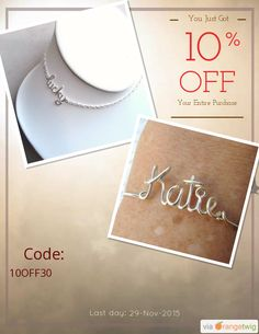 We are happy to announce 10% OFF our Entire Store. Coupon Code: 10OFF30 Min Purchase: 30.00 Expiry: 29-Nov-2015 Click here to view all products:  Click here to avail coupon: https://orangetwig.com/shops/AAAE9EA/campaigns/AABffaE?cb=2015011&sn=deannewatsonjewelry&ch=pin&crid=AABffac