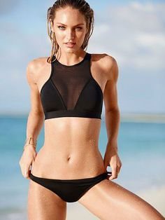 Sheer mesh turns the classic triangle top into this sporty statement-maker. / Victoria's Secret Swim 2014