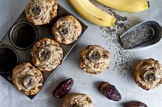 These Banana, Date and Chia Muffins are the perfect on-the-go snack. Healthy Muffins, Healthy Treats, Healthy Desserts, Date Muffins, Health Breakfast, Breakfast Recipes, Breakfast Options, Vegetarian Breakfast, Breakfast Muffins