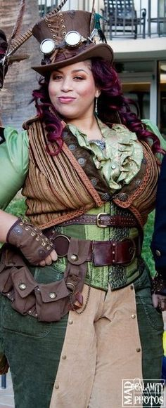 Awesome curvy woman doing steampunk well.
