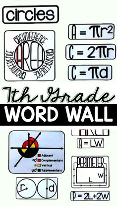 """With references for constant of proportionality, scale factor, equations, expressions, angle pairs, complex fractions, independent and dependent probability, area, perimeter, circumference, integers, inequalities, percents and simple interest, this word wall is a great addition to a 7th grade math classroom. The references are integrated wherever possible (ex: """"ratio"""" is shown on the part of the word wall that is for scale factor) so that students can make connections between the different parts Integers, Percents, Math Word Walls, Teaching Special Education, Math Words, 7th Grade Math, Math Classroom, Fractions, Middle School"""