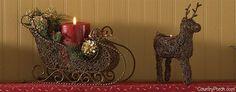 Sleigh Pillar Holder & Reindeer Tea Light Holder Wire Accents
