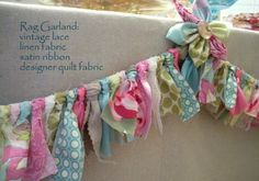 To Sew With Love: One of my favorite Etsy shop: Lucky Star Lane rag garland Rag Garland, Fabric Garland, Garlands, Ribbon Garland, Table Garland, Party Garland, Diy Ribbon, Fabric Ribbon, Lace Fabric