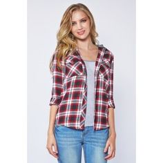 Plaid Button-Down Shirt With Hood