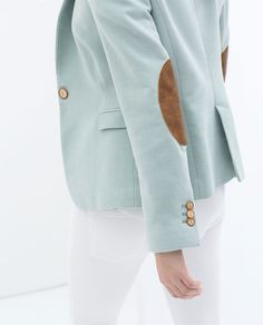 light blue blazer with elbow patches | zara.