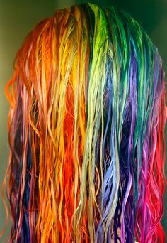 Rainbow Dyed Hair I WANT THIS!!!!